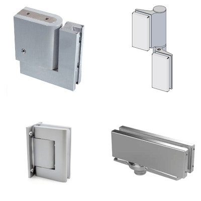 Hydraulic fittings for glass doors