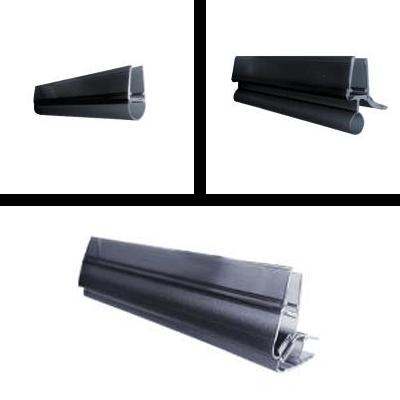 Shower seal profiles black transparent