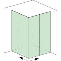 Aquant 40, Komplett-Set Eckdusche, zweiflügelig, mit Eckeinstieg, 2x Comfort Stop und Perfect Close