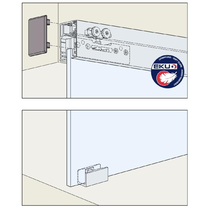 komplett set eku porta 40 ge f r 1 t re inklusive schienen inkl d mpfung. Black Bedroom Furniture Sets. Home Design Ideas