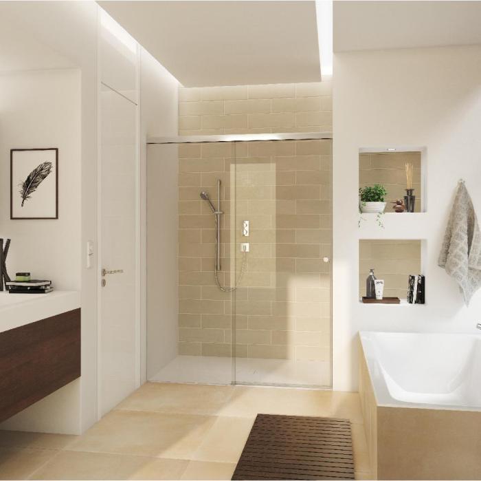 aquant 40 set complet pour douche entre deux murs porte simple 2x comfort stop et perfect close. Black Bedroom Furniture Sets. Home Design Ideas