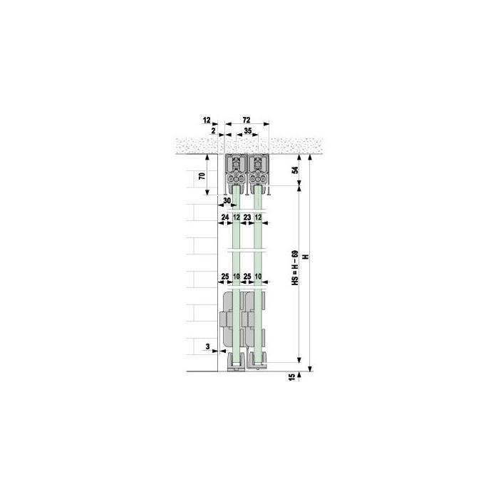 portavant 150 multiline profil set 2 schienen. Black Bedroom Furniture Sets. Home Design Ideas