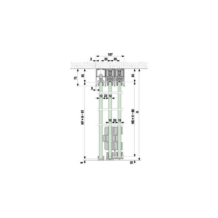 portavant 150 multiline profil set 5 schienen. Black Bedroom Furniture Sets. Home Design Ideas